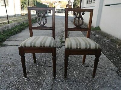 Pair of chairs chair in lira nut Empire seat padded covers 87 cm (h)