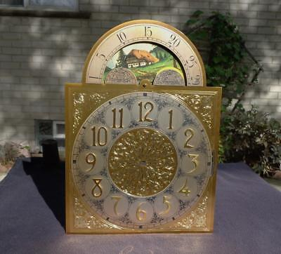 Hermle Miller Ridgeway Grandfather Floor Brass Cottage Moon Dial Raised Numerals
