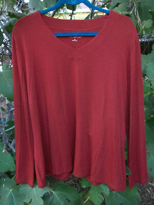 NEW Soft Surroundings stretch knit top plus size 2X Deep Rust bell sleeve NWOT