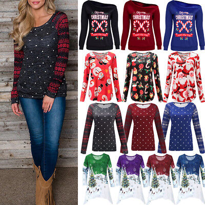 US Women's Loose Tops Long Sleeve Pullover Casual Blouse Shirt XMAS T-shirt Lot