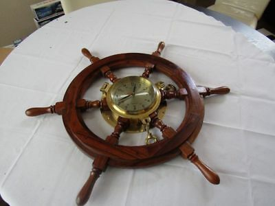 """Vintage 27"""" Ships Wooden Wheel With Heavy Brass Porthole Clock-Unused Exc!!"""
