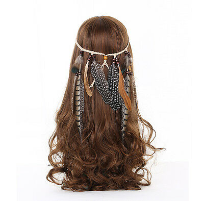 Women's Hippie Indian Feather Headband Weave Tribal Hair Rope Headdress Costume