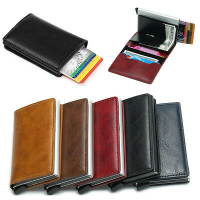 Genuine Leather Credit Card Holder Money Cash Wallet Clip RFID Blocking Purse FK