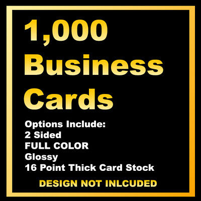 1,000 Business Cards - 2 Sided, Full Color, Glossy - Customer Provides Artwork