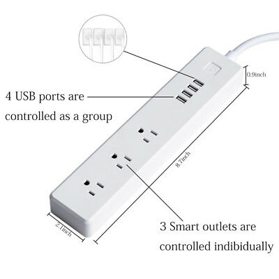 1xWifi Smart Power 4USB Extension Socket Phone Alexa Google IFTTT Remote Control