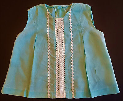 VINTAGE 1960's TODDLER GIRL'S TOP, AQUA BLUE WITH RICKRACK & BRODERIE TRIM