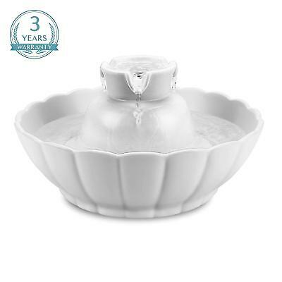 iPettie Ceramic Automatic Electric Lotus Pet Water Fountain for Dog Cat Drinking