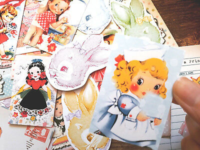 50 Whimsical Vintage Retro Kitsch Children Shabby Chic Ephemera Junk Journal