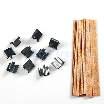 10 X Wood Wooden Candles Core Wick Candle With Iron Stands 10mmX126mm YG