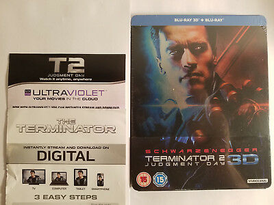 Terminator 2 Judgment Day 3D+Blu-ray OOP STEELBOOK Region B+Digital for T1 & T2