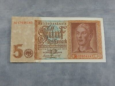 WW2 German Issued Funf Reichsmark Banknote Nice #3 ML