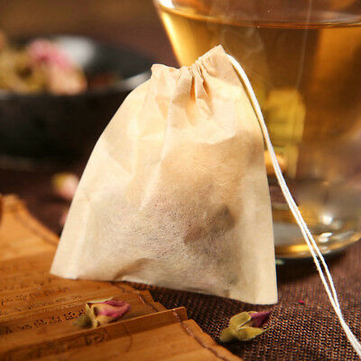 100X Natural Tea Bag Filter Paper Strainer Drawstring Disposable Teabag Infuser