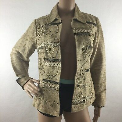 Coldwater Creek Sz PXS Tweed Open Blazer Jacket Linen Blend Embroidered Floral