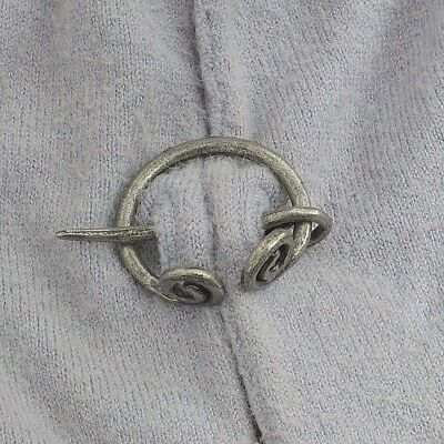 "Silver-tone Celtic Spiral PENANNULAR Brooch Cloak Hair Pin 1-1/4"" w/ 1-3/4"" pin"