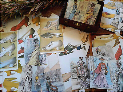 50 Vintage Victoria Fashion Ephemera Paper Die-Cuts Scrapbook Junk Journal Card