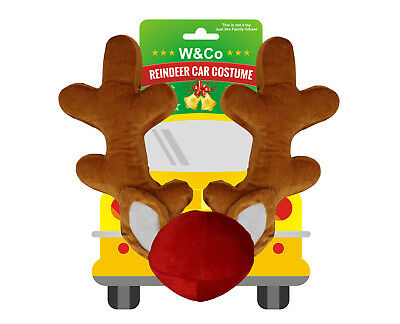 Win&Co Car Reindeer Antlers & Nose Costume Reindeer Christmas Car Character Kit