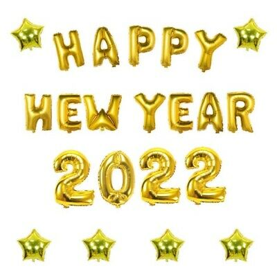 16inch 2019 Happy New Year Eve Star Number Letter Foil Balloon Gold Party Decor
