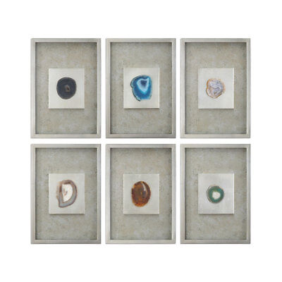 Agate Silver Stone Wall Art by Uttermost 119cm x 82cm - ( Set of 6 )