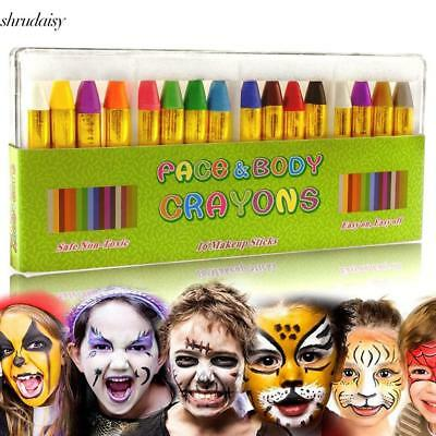 Children's Face Color Crayons Kit Body Oil Paint Clown Fans Devil Ghost S5DY