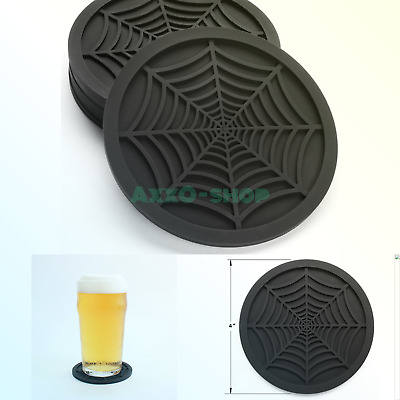 """Silicone Coasters For Drinks - 6 Pack Unique Design Spider Drink Coasters, 4""""..."""