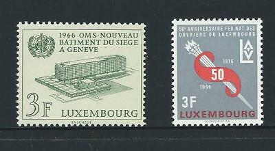 1966 LUXEMBOURG W.H.O. & Workers Federation Issues MNH (Scott 434-435)