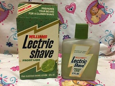Vintage 60s Williams Lectric Shave Frost Lime Lotion Bottle and Box