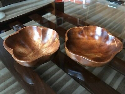 Retro Mid Century Teak Pair Wooden Bowls Treen MCM Trinket Desk Tidy Snacks