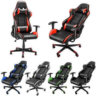 PU Leather Adjustable Gaming Racing Office Chair Executive Recliner Neck Pillow