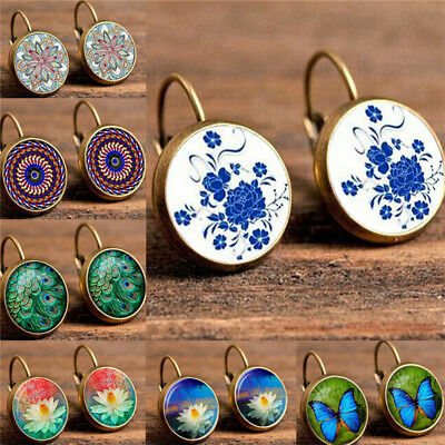 Round Butterfly Lotus Flower Peacock Hair Pattern Earrings For Engagement B