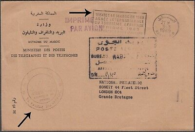 Morocco 1969 Stampless Cover From Rabat To London, Gb With Special Cachets.