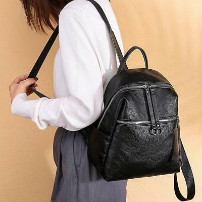 Backpack Women PU Leather Black Vintage Style College Girls School Fashion  Bag 4376623a93d59