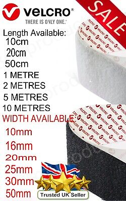 VELCRO® Brand PS14 Self Adhesive Black / White HOOK ONLY Strips Tapes