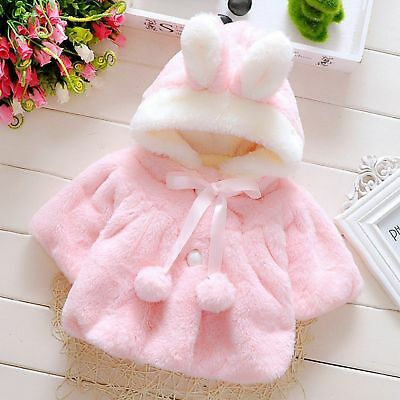 Cute Baby Girls Hooded Coat Jacket Toddler Kids Plush Rabbit Ear Hoodies Outwear