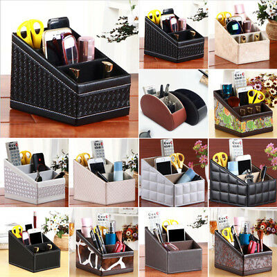 Faux Leather Phone TV Remote Control Storage Box Home Desk Organizer Holder B1