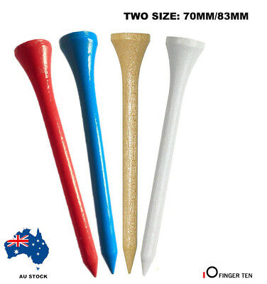 100 X Professional Wooden Golf Tees - 70/83Mm-Red/blue/white/burlywood Au Stock