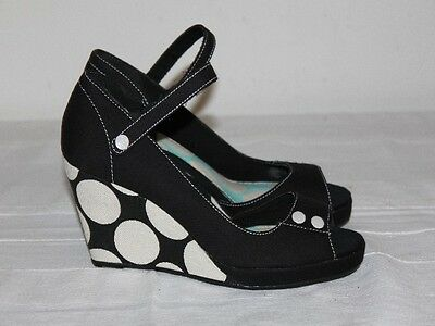 Court shoes KEDS canvas wedge heels spotted black and white T 36 BE