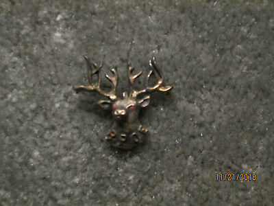 Unique Hand Made Elks Head Pin With Cabochon Crystal Eyes Bpoe