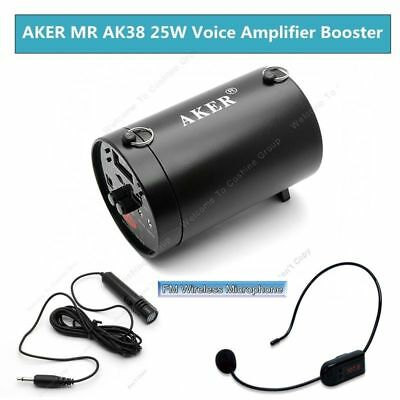 AKER 25W Portable PA Voice Amplifier Booster +FM Wireless Microphone Loudspeaker
