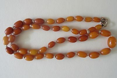 Very Rare Antique Butterscotch Egg Yolk Amber Bead Necklace 100% Natural 12.9g