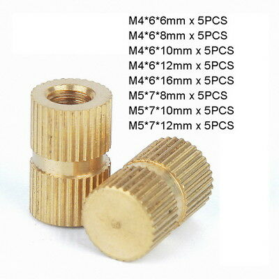 40pc M4 M5 Solid Brass Injection Molding Knurled Thread Inserts Kit - Blind Hole