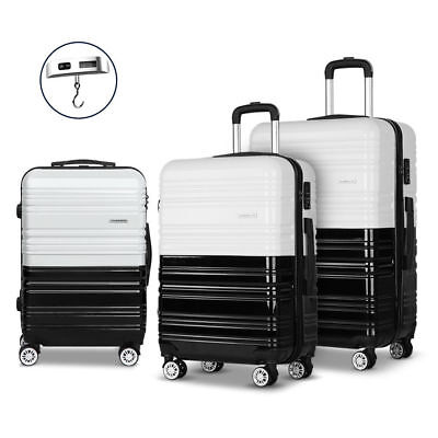 Wanderlite 3pc Luggage Suitcase Trolley Set TSA Hard Case Lightweight WH/BK