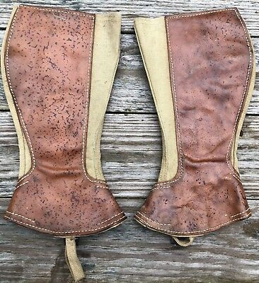 Vintage Boot Gators Original Canvas And Leather Old
