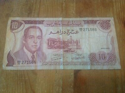 10 Morocco Dirhams banknote dated 1970