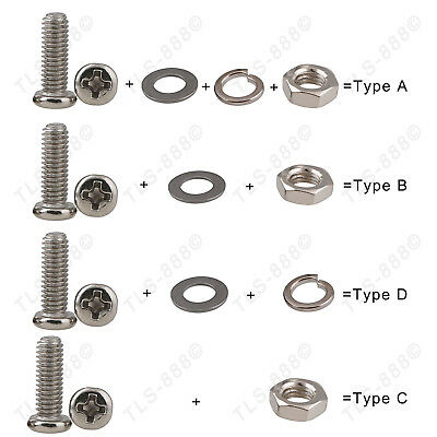 M3 Ni-Plated Phillips Pan Round Head Screw+Nut+Flat+Spring Washer Kit Var. Match