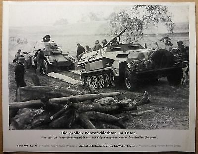Original 1941 German press large print photo Hanomag panzer East front WH Russia