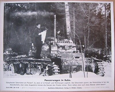 Original WW2 German press large print photo Panzer III tank 1942 WH Soldiers