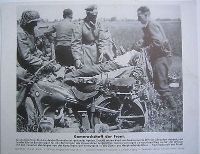 Original 1943 German press large print photo WH Motorcycle sidecar Medic