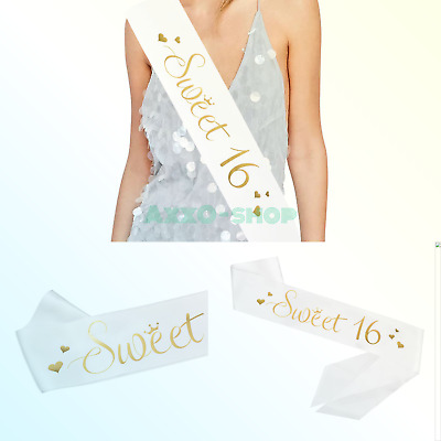 SWEET 16 WHITE Satin Sash Gold Glitter Letters GIRL Sixteen
