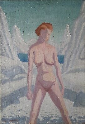 Striking Oil On Canvas Art Deco Nude In Snowy Alpine Landscape Listed Artist