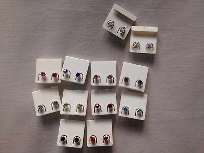 JOBLOT-20 pairs of 0.5cm colour diamante stud earrings.Silver plated.UK handmade